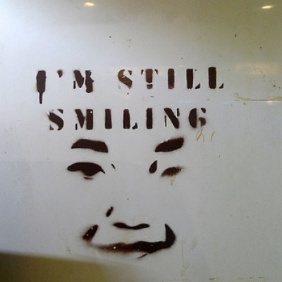i'm still smiling- stencil graffiti