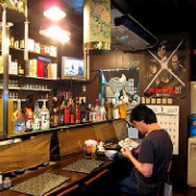 two Japanese restaurant interiors