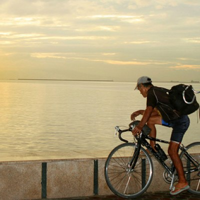 cyclist by the bay