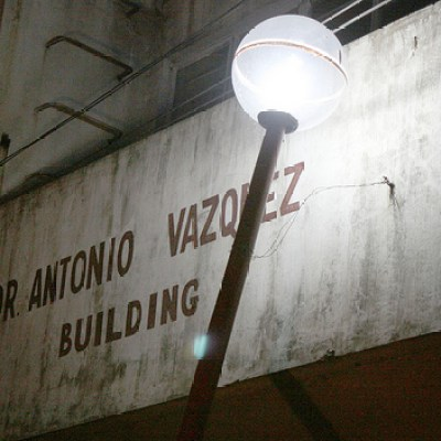 street lamp and old building