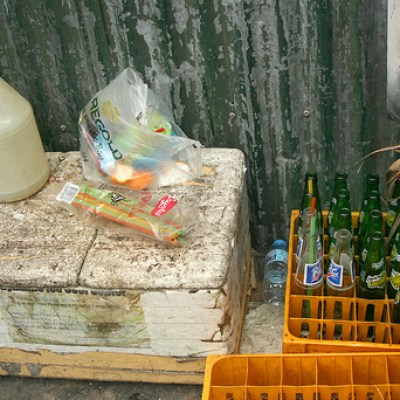 bottles and a plastic jug