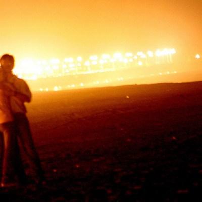 hugging on the beach