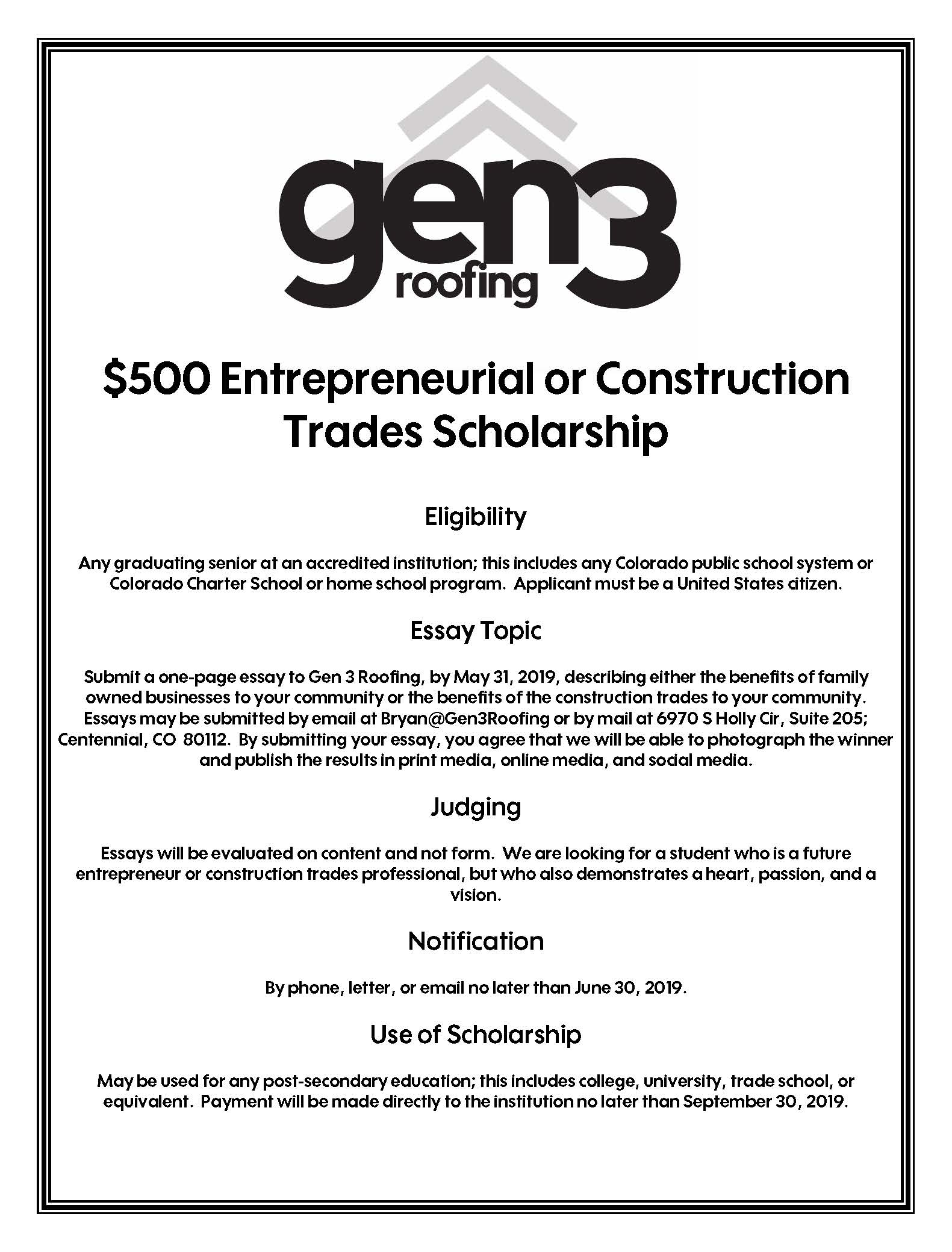 Poster Judging Form Gen 3 Roofing Offers Two Scholarships