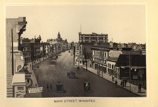 The Historical Maps of Manitoba Collection also includes photos and illustrations, such as this one of Winnipeg's Main Street in 1885.