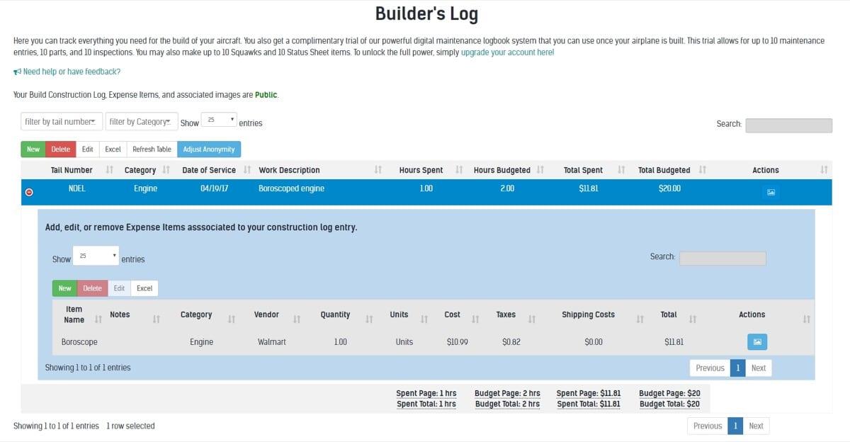 PlaneLogiX releases free builder logbook