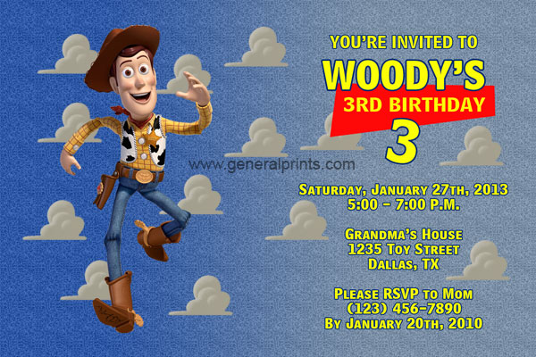Invitation Heading Font Woody Invitations From The Movie Toy Story | General Prints