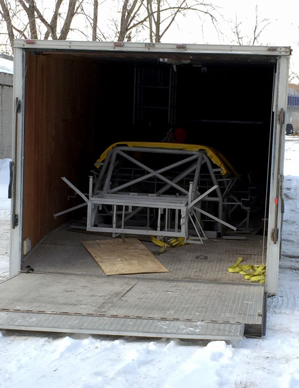 The newly painted body panels and frame have just arrived! Thank you, Chuck Putsch at Central Classic Cars!