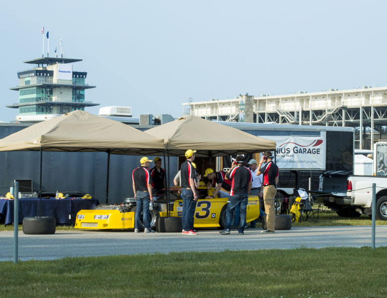 A view of the Genius Garage setup at the Indianapolis Motor Speedway; what a great spot!