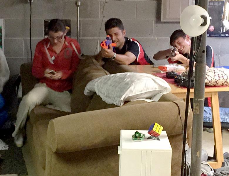 Nerf gun wars break out in Chris Scherzer's basement!