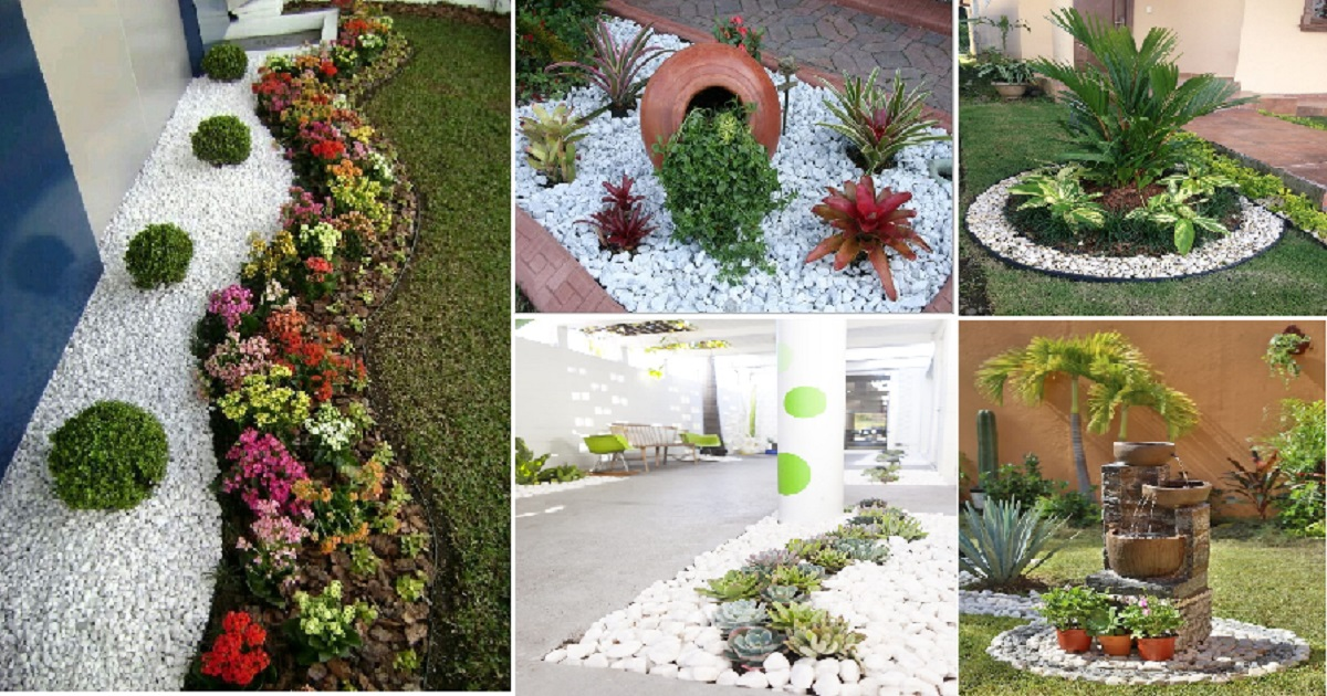 wonderful landscaping ideas with white pebbles and stones