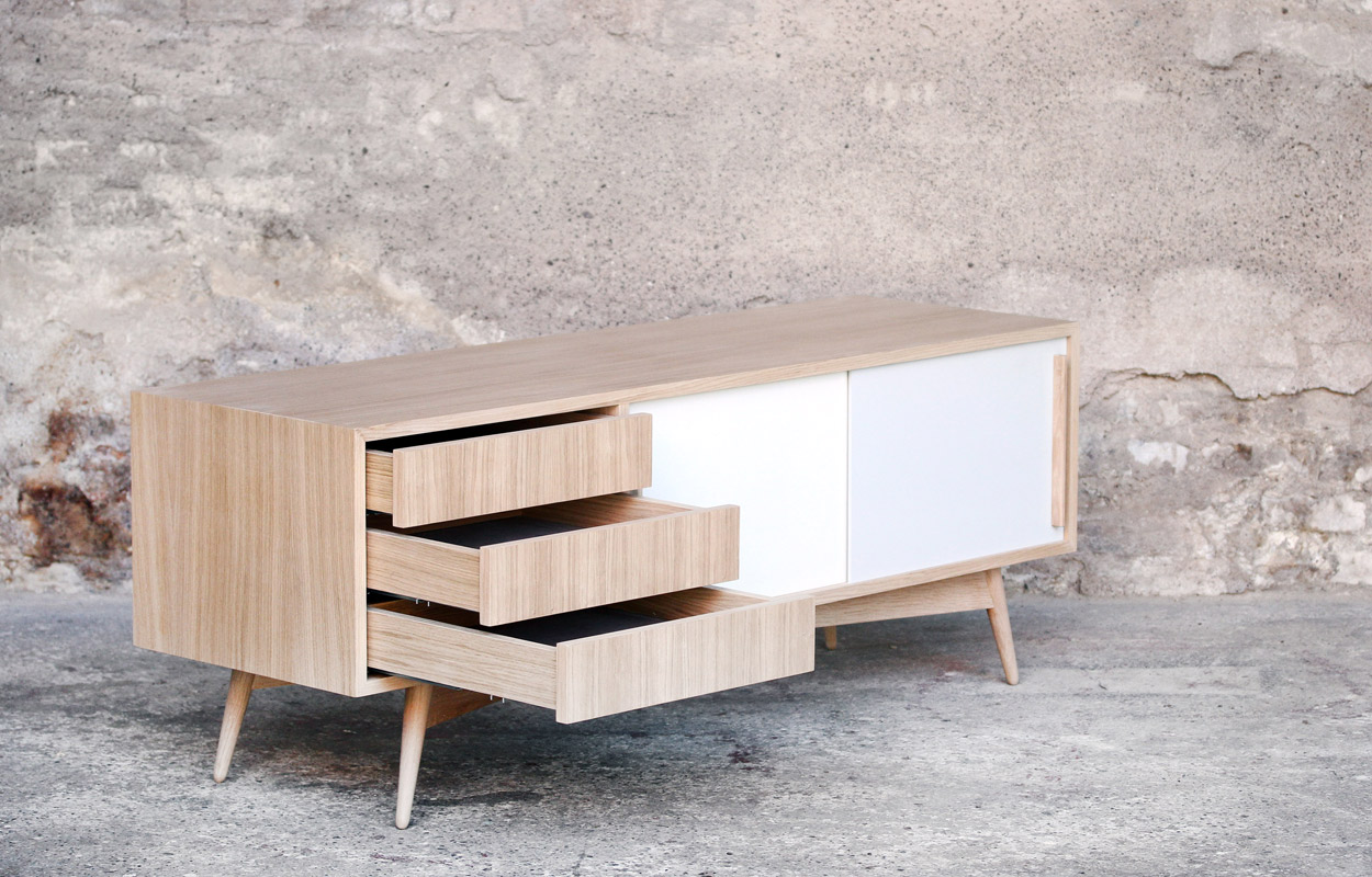 Meuble Tv France Meuble Tv Bas Style Scandinave Sur Mesure Made In France