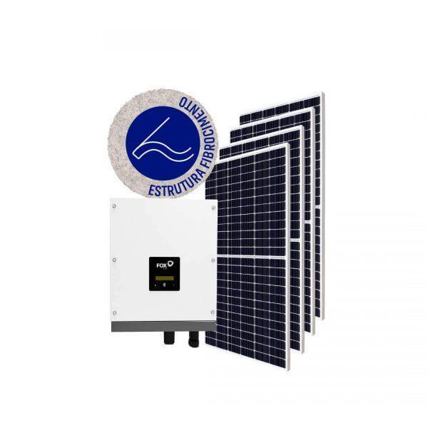 Inversor solar fotovoltaico FoxESS Modulo fotovoltaico SUNOVA Stringbox Clamper Estrutura Solar Group Fibrocimento
