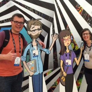 Sarah and me with two friendly developers…