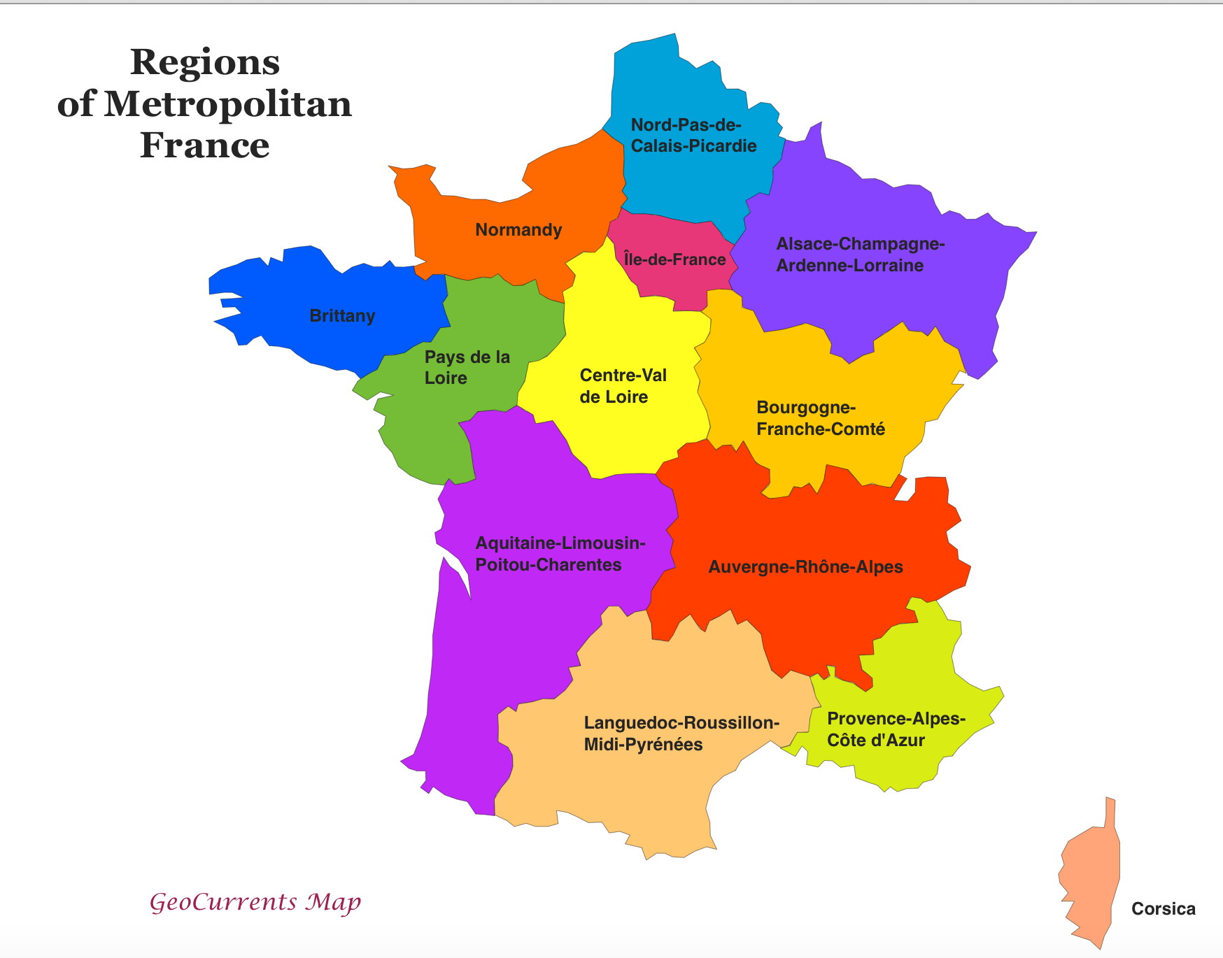 Regions De France Customizable Maps Of France And The New French Regions Geocurrents
