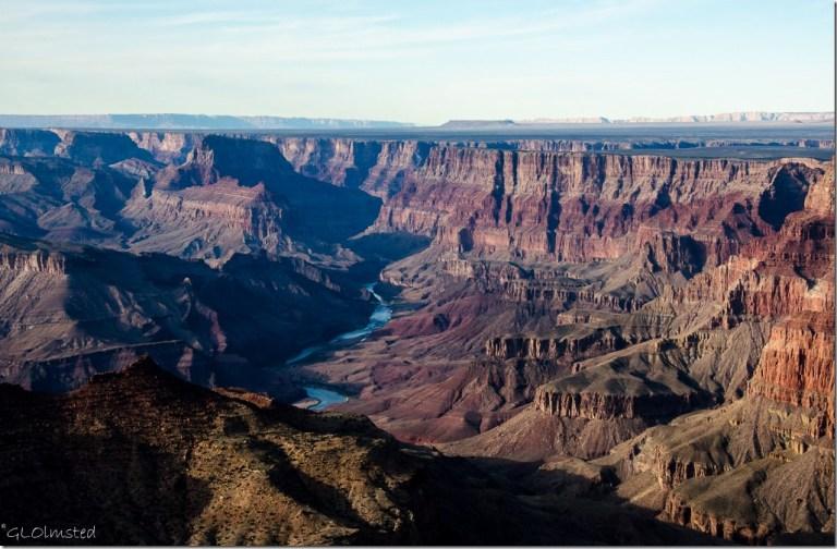 Late light in the canyon & Colorado River Navajo Point South Rim Grand Canyon National Park Arizona