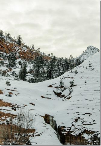 Frozen spring water Zion National Park SR9 west Utah