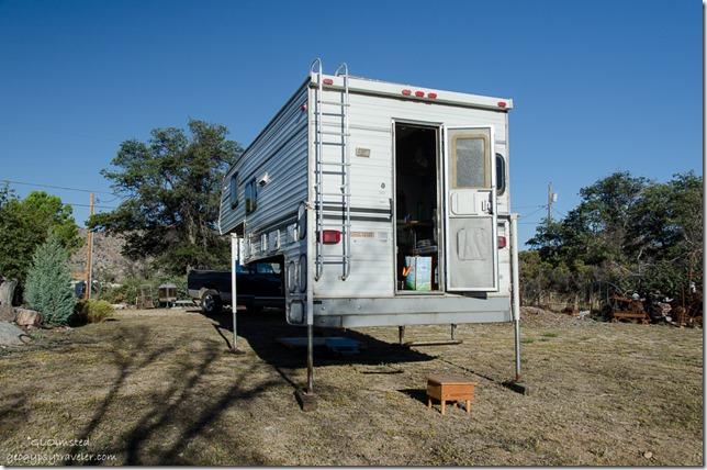 Camper off truck Yarnell Arizona