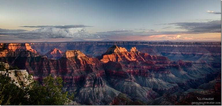 Last light & sunset North Rim Grand Canyon National Park Arizona