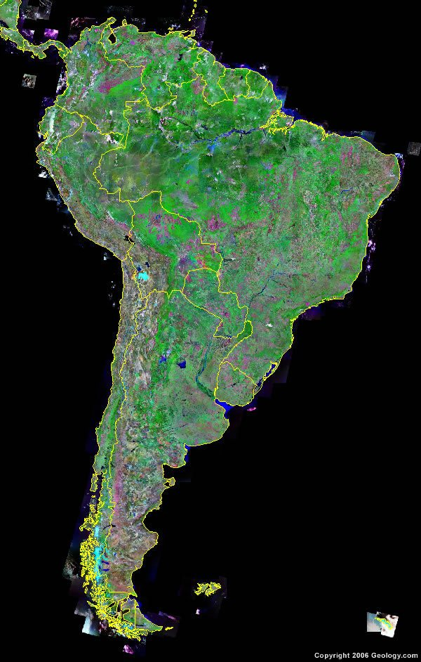 South America Map and Satellite Image