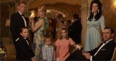 Henry Francis (Christopher Stanley), Betty Francis (January Jones), Megan Draper (Jessica Paré) and Don Draper (Jon Hamm), plus kids Sally (Kiernan Shipka), Gene (Evan & Ryder Londo) and Bobby (Mason Vale Cotton).
