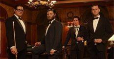 Rich Sommer as Harry Crane, Jay R. Ferguson as Stan Rizzo (now with beard!), Ben Feldman as Michael Ginsberg, and Aaron Staton as Ken Cosgrove.