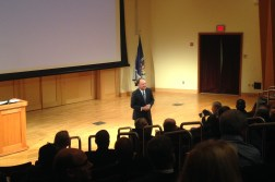 President DeGioia speaks in Lohrfink Auditorium on Feb. 4 / Photo: Liz Teitz