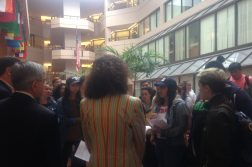 Students asking for the disinvitation of Jeh Johnson petition SFS Deans Photo: Liz Teitz