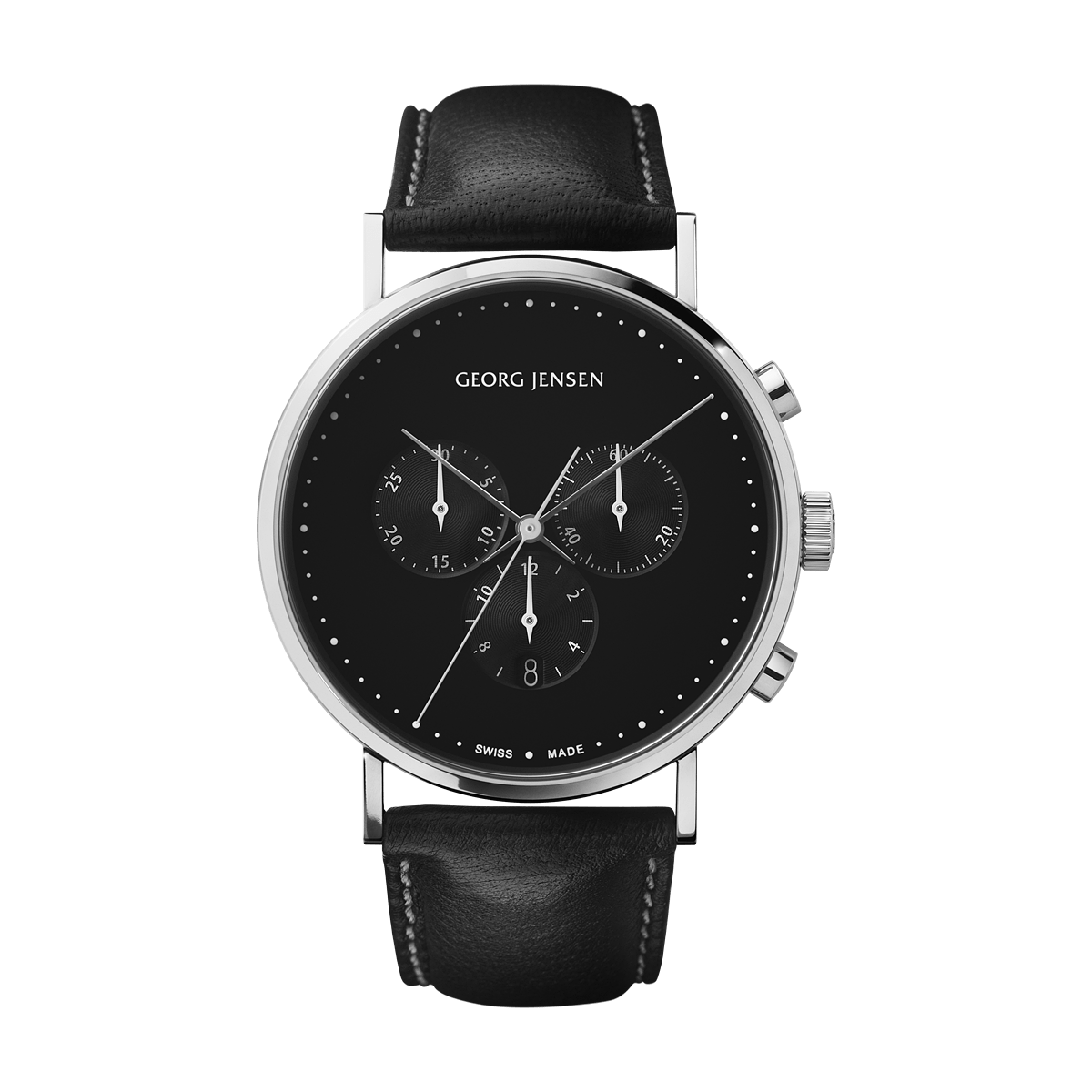 Jensen Uhren Koppel 41 Mm Chronograph Black Dial Black Leather Strap