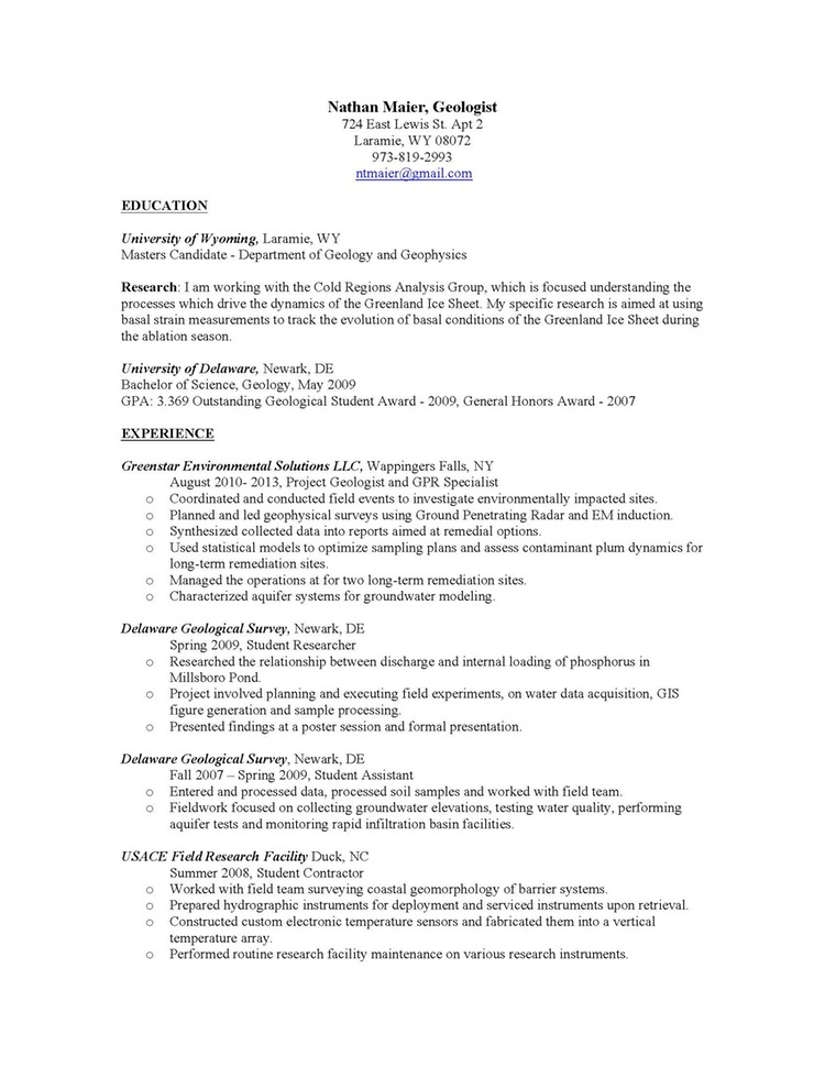 geologist resume - Ozilalmanoof
