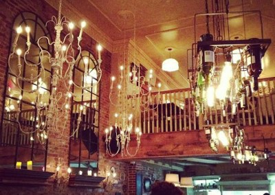 Custom made wood bar, restaurant fittings, tables, chairs, railings and cabinets.