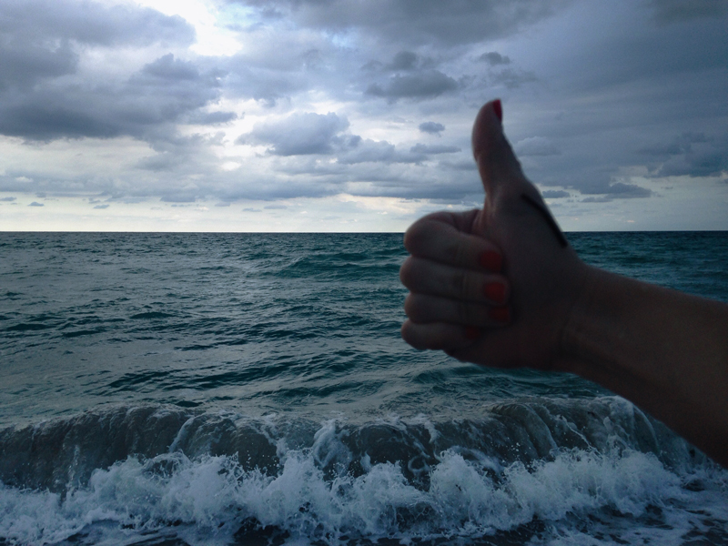 thumbs up to the ocean view