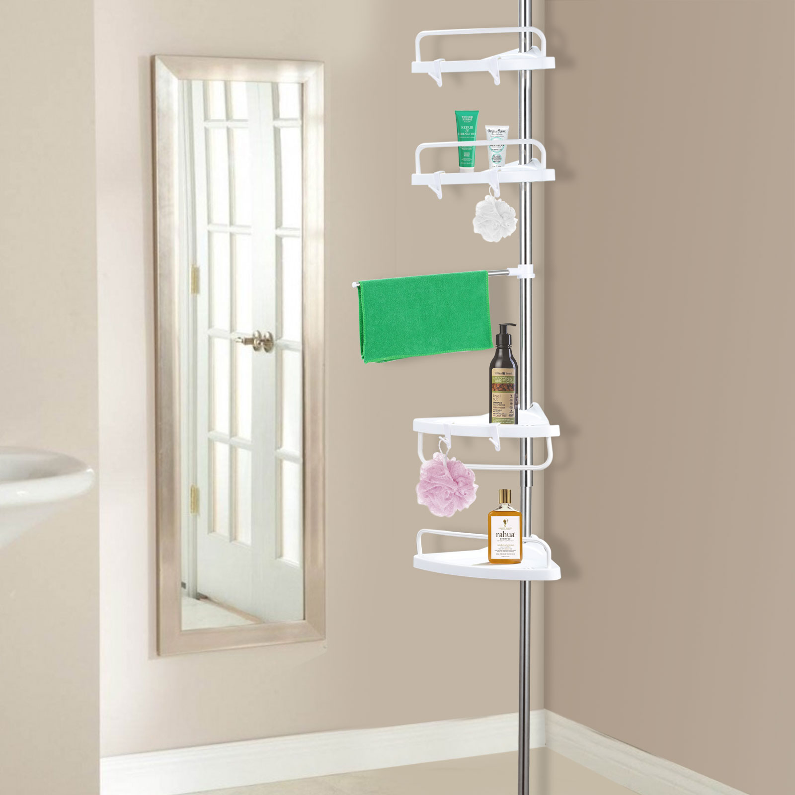 Bathroom Caddy Telescopic Bathroom Shelf Bath Corner Shower Rack Caddy