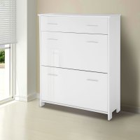 Shoe Cabinet High Gloss Wood Storage Cupboard Rack Unit ...