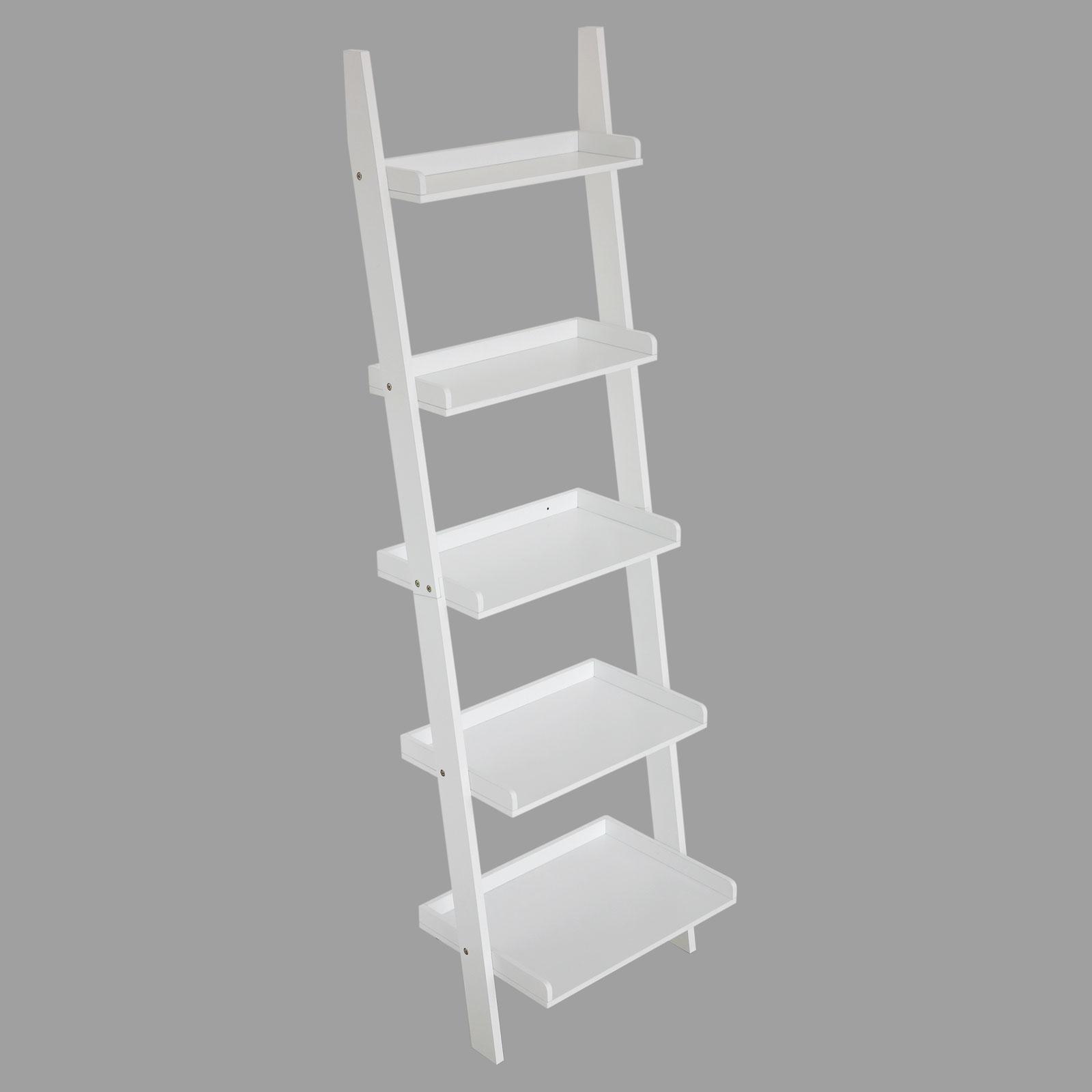 5 Tier Wall Rack Leaning Ladder Shelf Storage Bookshelf E1