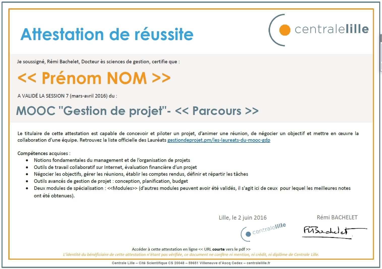 exemple cv attestation de mooc