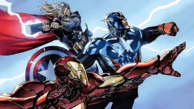 Wallpaper : 1920x1080 px, Captain America, Iron Man, lightning, Marvel Comics, superhero, Thor ...