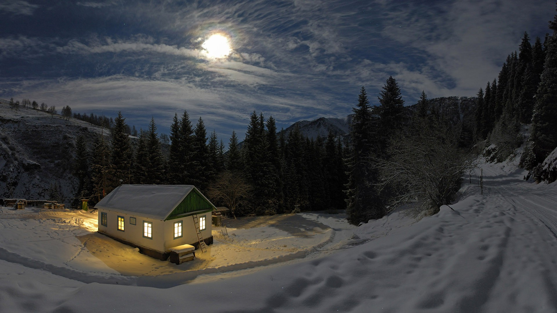 3d Snowy Cottage Animated Wallpaper Free Download Wallpaper 1920x1080 Px Clouds Forest House Landscape