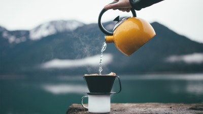 Wallpaper : 1920x1080 px, cup, depth of field, hands, hot drink, kettle, lake, landscape ...