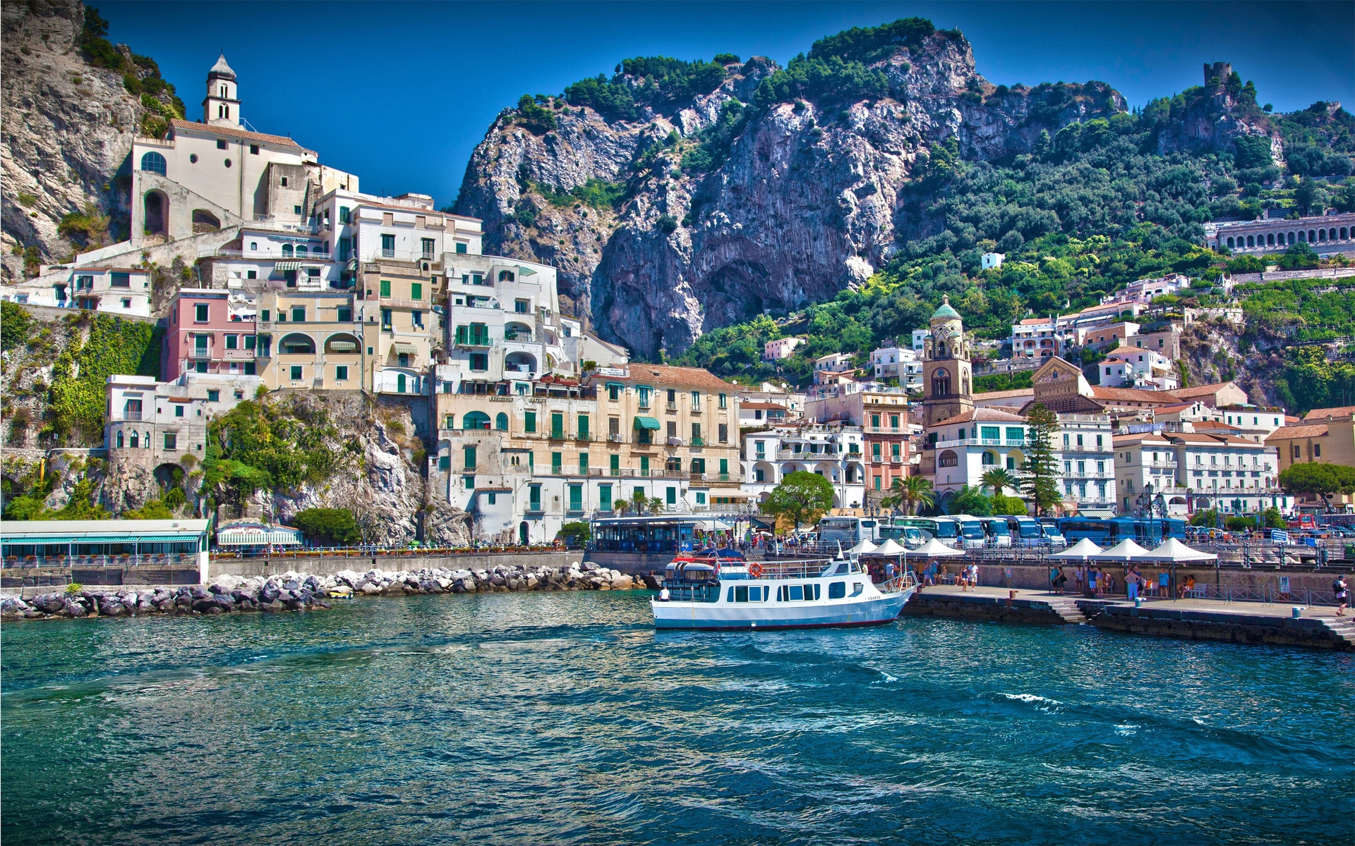 Wallpapers Of Italy Wallpaper Italy City Amalfi Boats Sea Houses Mountains