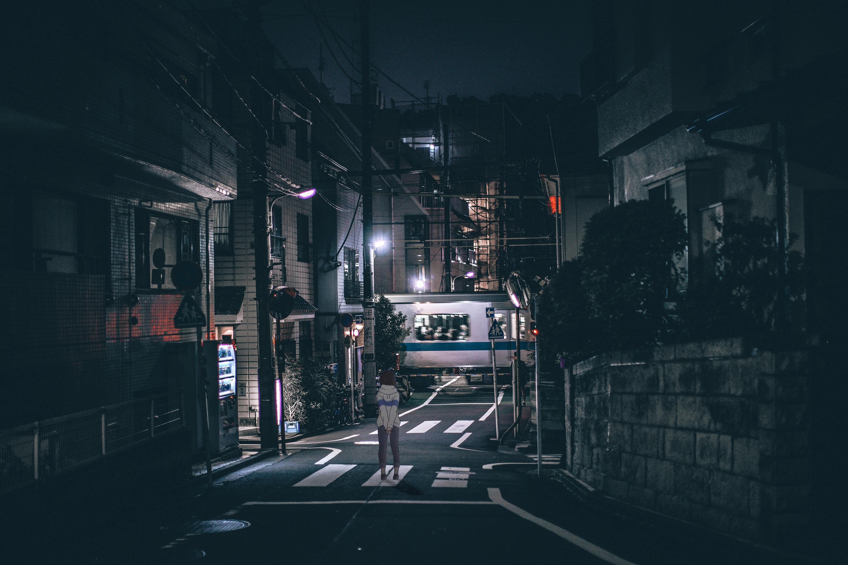Nvidia Girls Wallpaper Wallpaper Japan Street Lights Night Urban Dark