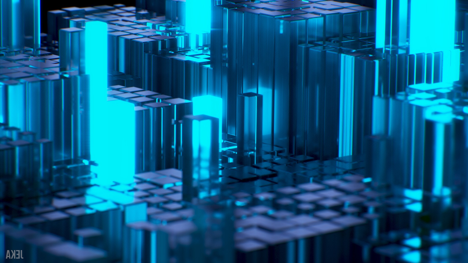 3d Wallpaper For Kitchen デスクトップ壁紙 抽象 3d 青 ガラス 技術 Cinema 4d ブレンダー 大都市 光