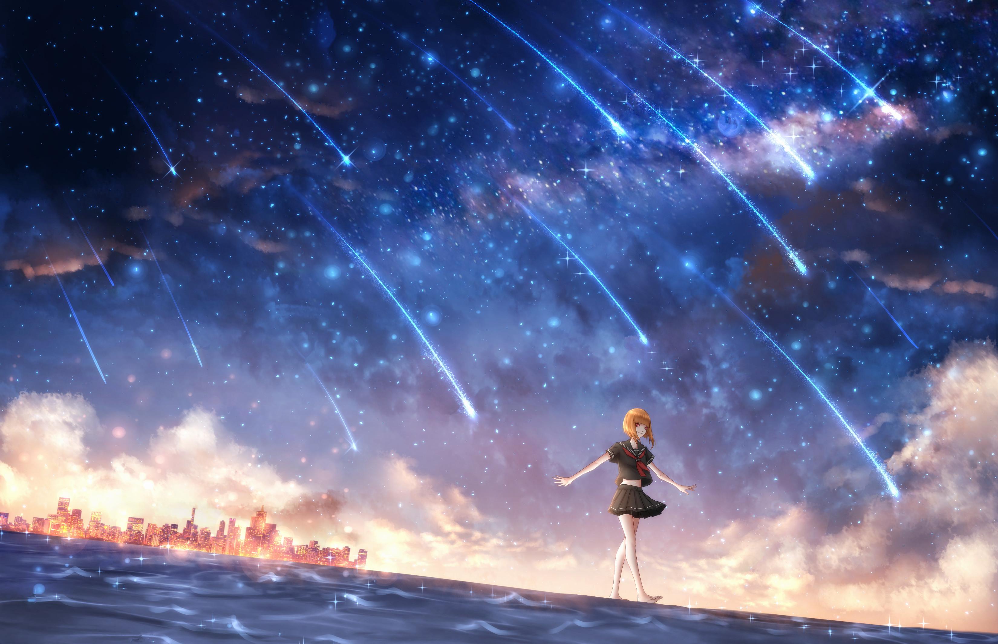 Anime Girl Looking At Sky Wallpaper 배경 화면 애니메이션 소녀들 별이 빛나는 밤 3300x2130 Hellcome 1294735