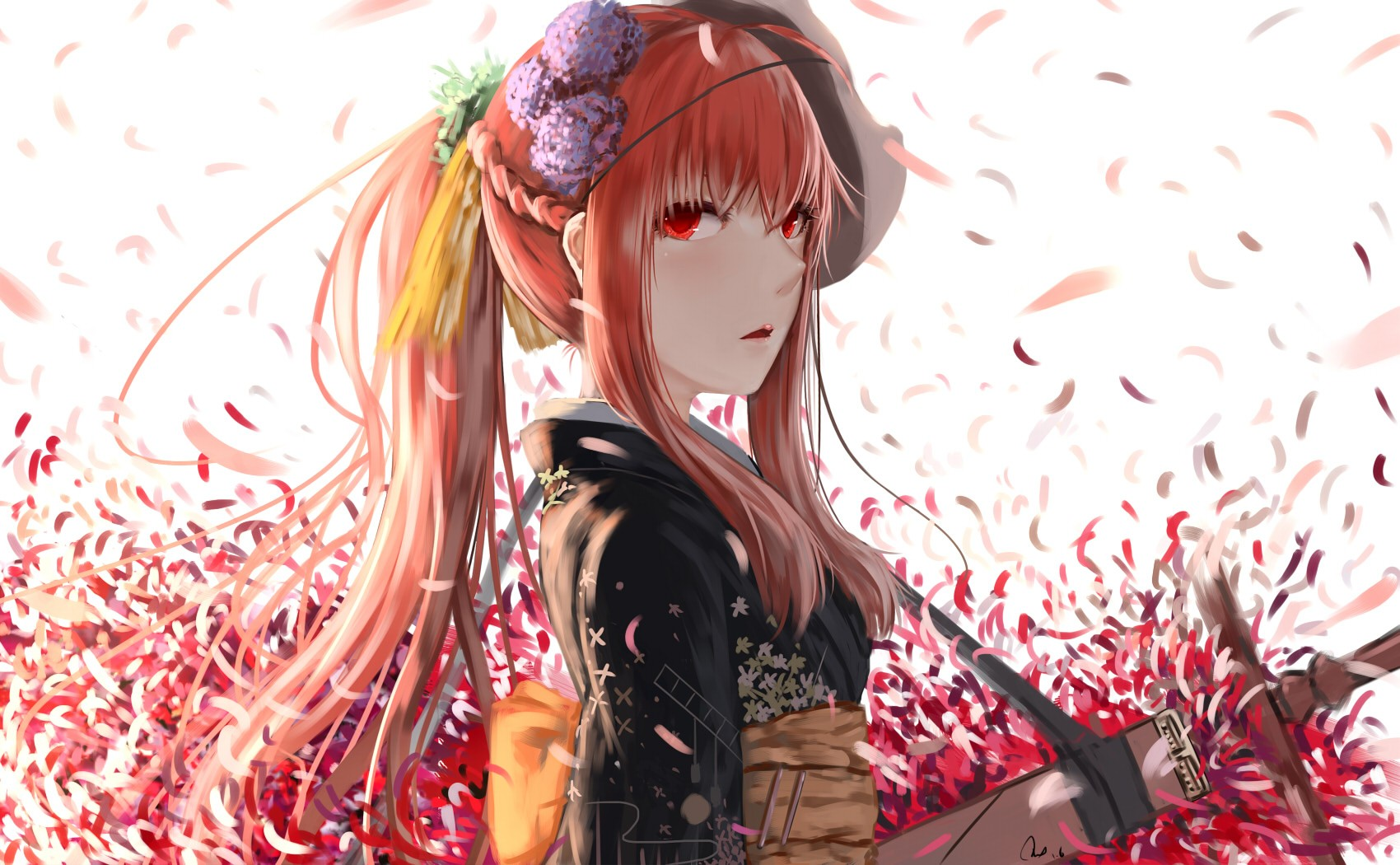 Kitsune Girl In Kimono Wallpaper Wallpaper Anime Girls Weapon Mask Sword Petals
