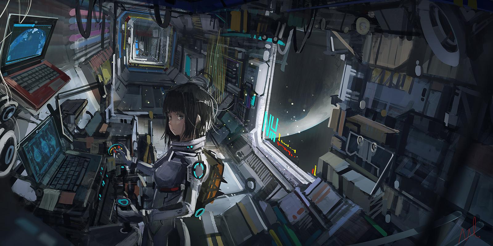 Gamer Girl Spaceship Wallpaper Wallpaper Anime Girls Digital Art Artwork Science