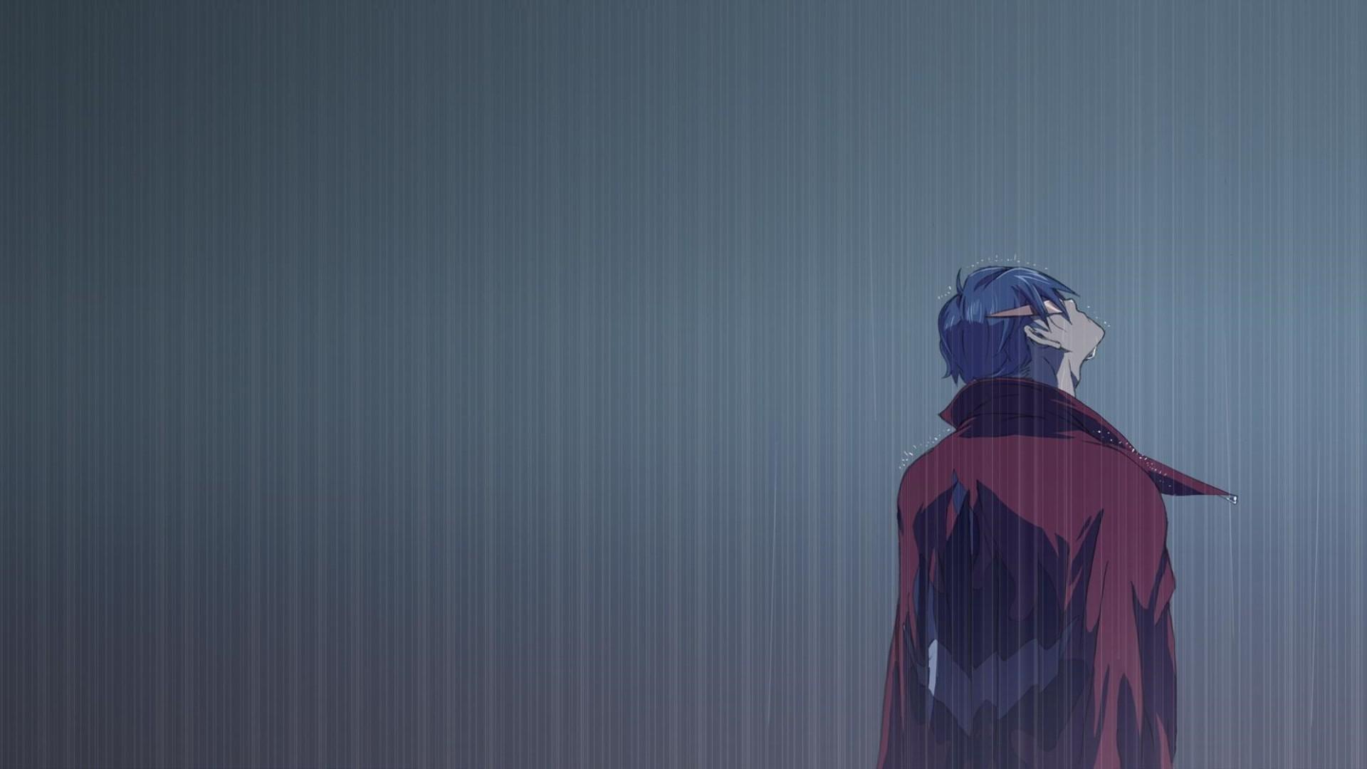 Sad Crying Girl Wallpaper Hd Wallpaper Anime Rain Blue Tengen Toppa Gurren Lagann