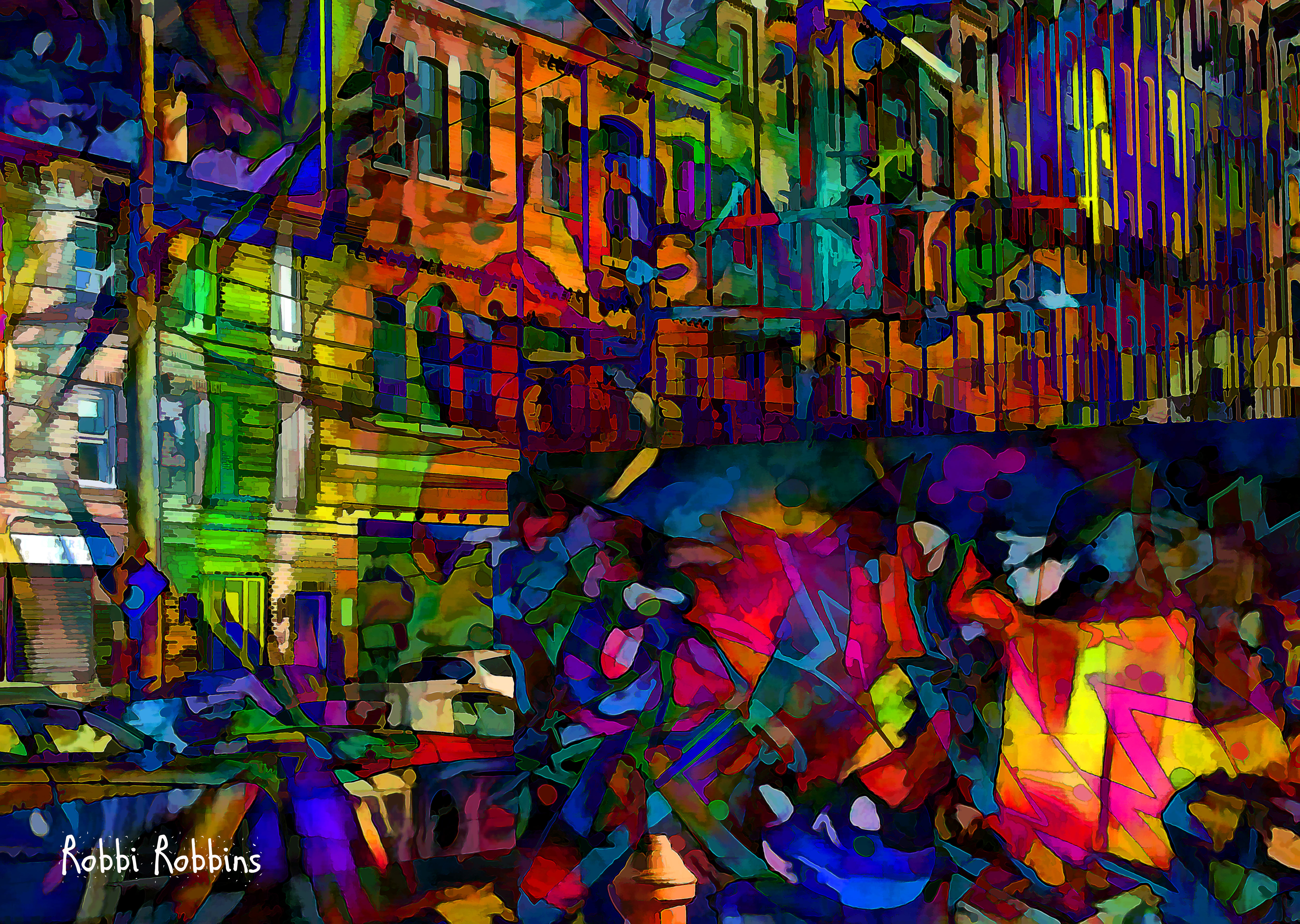 Wallpaper Perritos 3d Wallpaper Colorful Painting Photoshop Window City