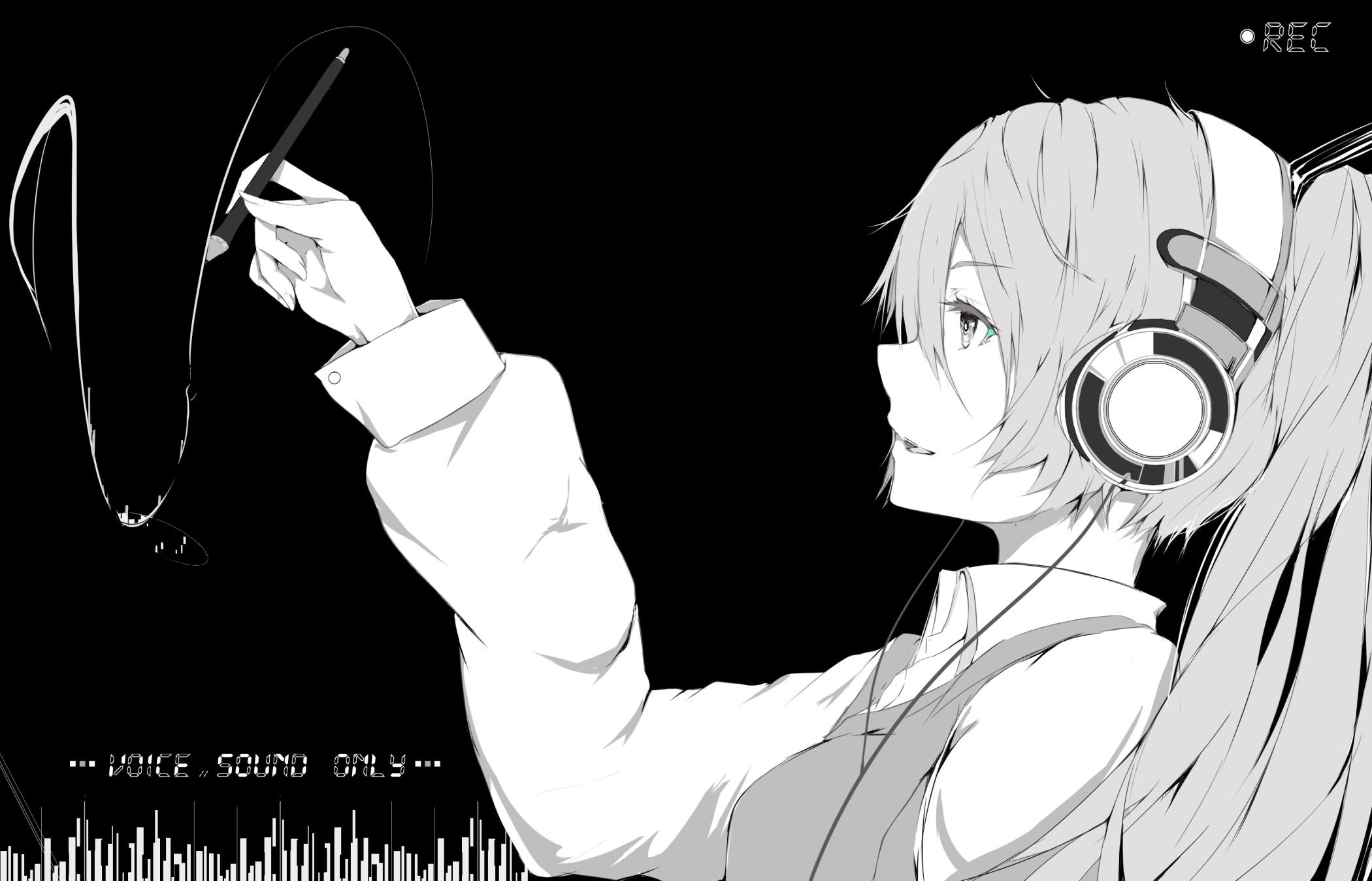 Digital Headphone Wallpaper Girl Fondos De Pantalla Dibujo Ilustraci 243 N Monocromo Anime