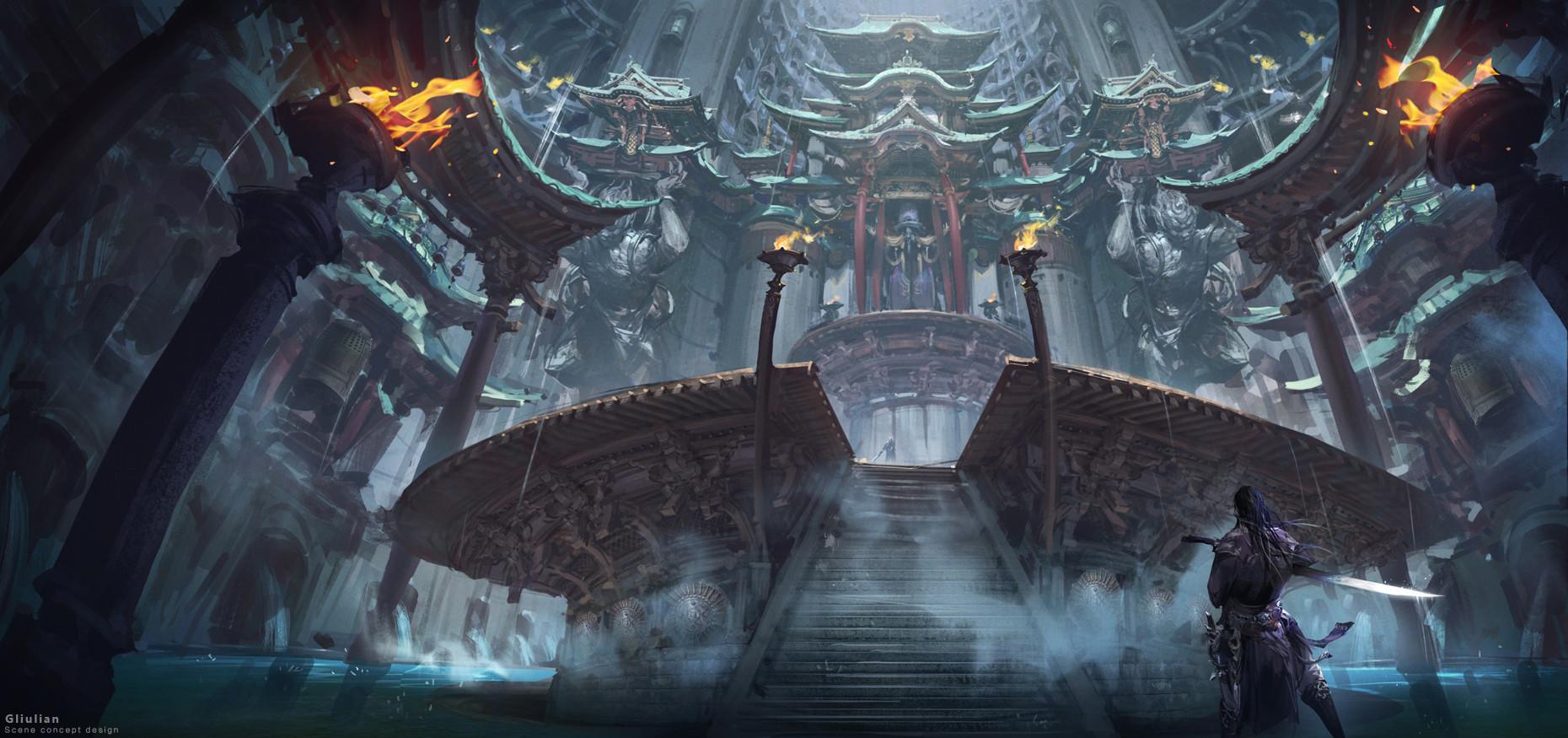 Download Hd Game Wallpapers 1080p Wallpaper Fantasy Art Mist Temple Fire Sword