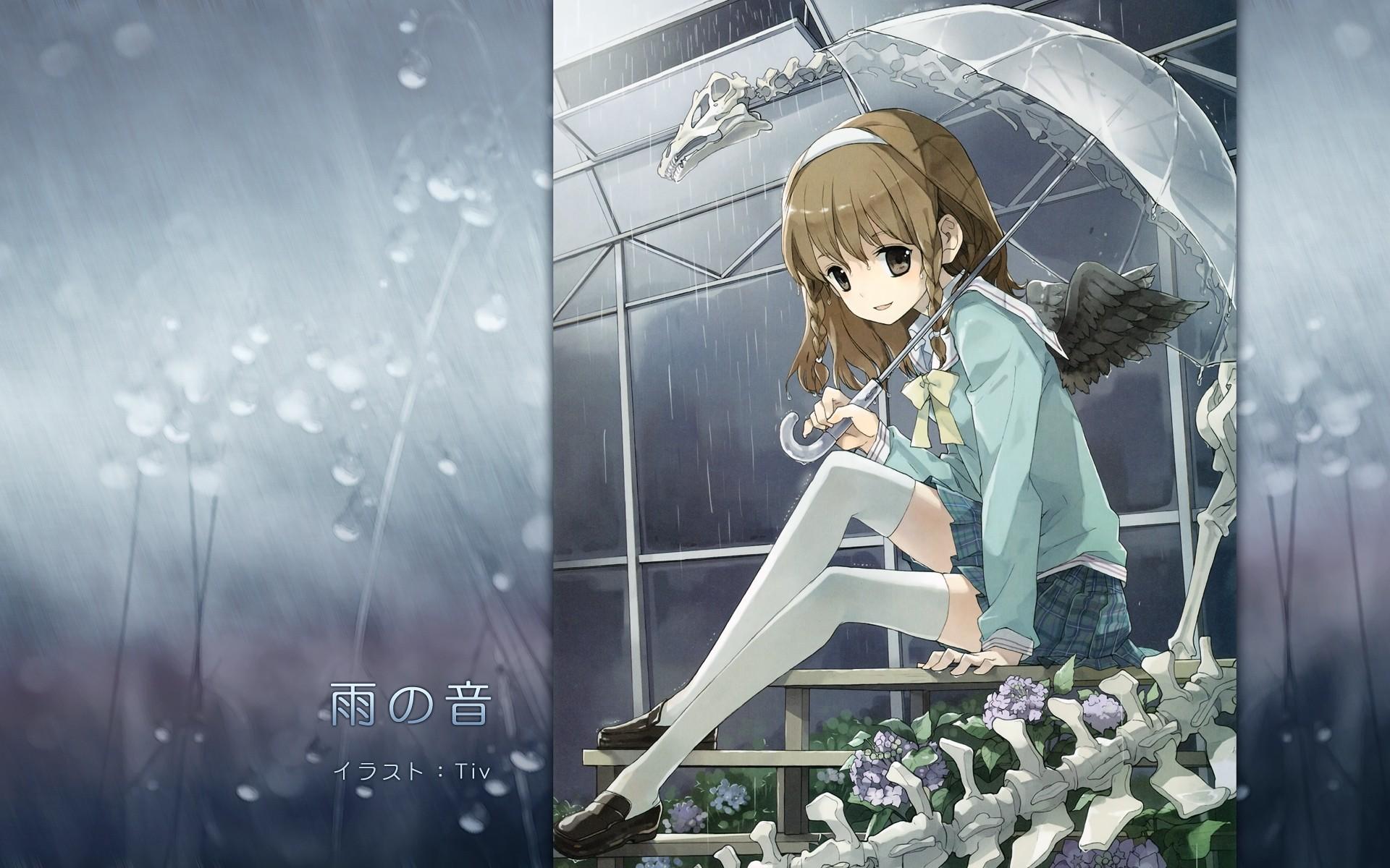 Kimono Anime Girl Android Wallpaper Wallpaper Flowers Anime Girls Brunette Wings Rain