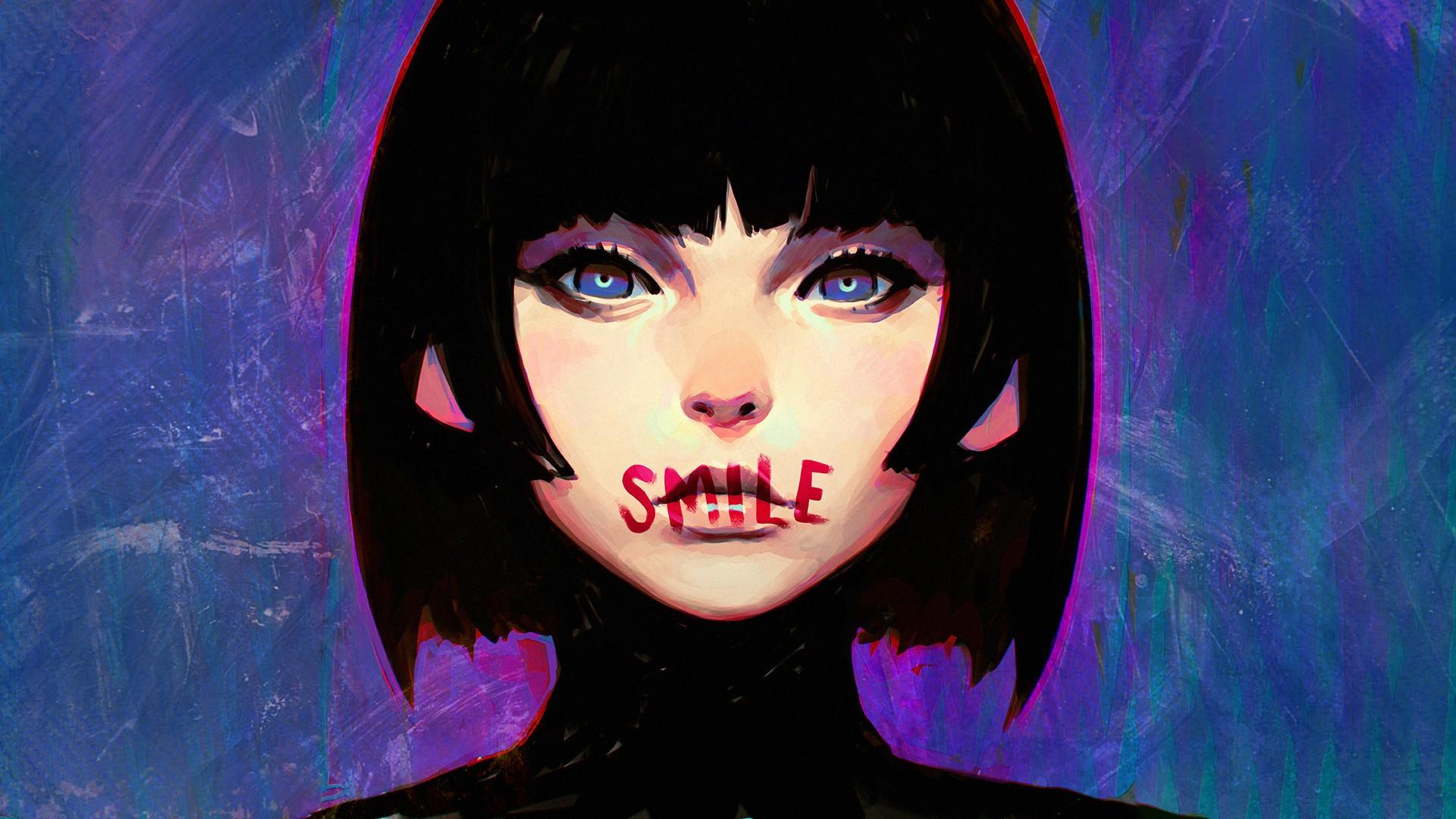 Headphone Girl Wallpaper Black Blue Wallpaper Illustration Digital Art Women Anime Black